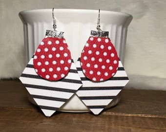 Black and white stripes with red polka dots leather earrings