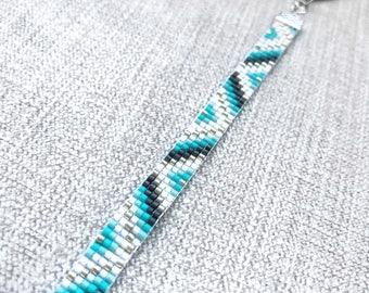 Turqouise Miyuki Bracelet / Beaded Bracelet / Miyuki Beads / Miyuki Bead Bracelet / Chevron / Turquoise and Grey / Miyuki Delica