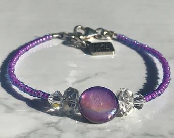 Swarovski Crystal Clear & Purple Opal Shell Stackable Bracelet
