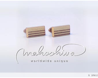 wooden cuff links wood walnut maple handmade unique exclusive limited jewelry - mahoshiva k 2017-16