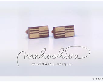 wooden cuff links wood walnut maple handmade unique exclusive limited jewelry - mahoshiva k 2017-34