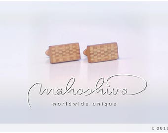 wooden cuff links wood alder maple handmade unique exclusive limited jewelry - mahoshiva k 2017-62