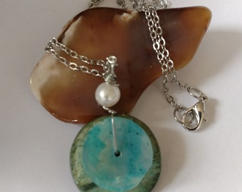Abalone shell freshwater Pearl Necklace