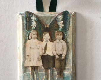 Moment...mixed media wall hanging...butterfly vintage children