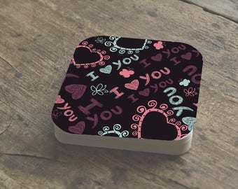 I Heart You Coasters | Valentines Gift | Bridal Shower Gift | Coasters in Sets from 2 to 12 | Love | Hearts | Butterflies | FREE SHIPPING