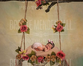 Yellow Swing With Flowers- Newborn photography digital Backdrop