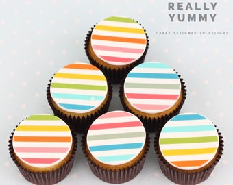 Candy stripes cupcake toppers - 6