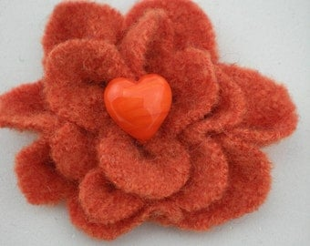 Flower Orange woll with high quality pearl 7 cm aw09