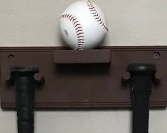 Baseball Bat Rack Display Holder Wall Mount Full Size 2 Bats 1 Ball Brown