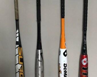 Baseball Bat Ball Display Rack Holder 4 Full Size Bats 3 Balls Softball Black