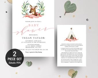 INSTANT DOWNLOAD Deer Baby Shower Invitation Printable Template - Pink - BONUS Detail Card