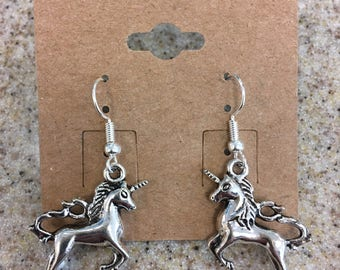 Silver Unicorn Dangle Charm Earrings