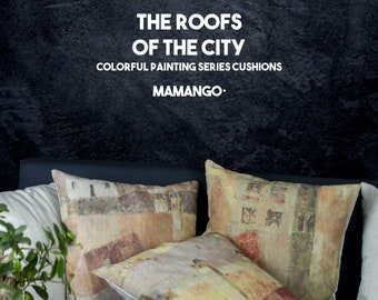 """The roofs of the city, set of 3 cushions with colorful printed details of paint, Bright color, 16"""" - Limited Edition of 100"""