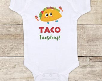 Taco Tuesday - cute funny Mexican food maracas baby bodysuit baby shower gift - Made in USA - toddler kids youth shirt