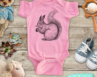 Squirrel with nut pet Zoo animal wild kingdom Shirt - Baby bodysuit Toddler youth Shirt cute birthday baby shower gift