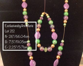 Iridescent Lilac\Green Pendant with Complete Handmade Beaded Jewelry set,  Soft Lilac & Green colors,  Really Sparkles, Gold Accents