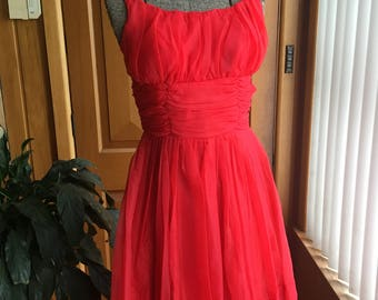 Vintage 1950's fire engine red party frock - size S