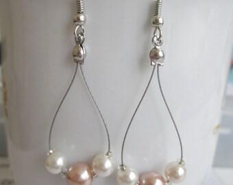 Three Stone Drop Earrings