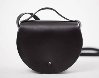 Black minimalist leather satchel/Leather Small Crossbody bags/leather Crossbody/cross body bag/leather Shoulder bag/everyday bag womens/gift
