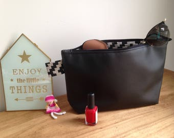 zippered and lined pouch bag, makeup case
