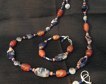Bicolor Sodalite and Carnelian Jewelry Set (Necklace, Earrings, and Bracelet)