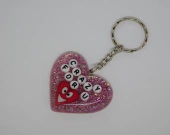 Valentines 'CRAZY FOR U' Puffy Resin Heart Keychain/Bag Charm