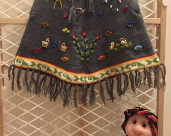 Toddler Peruvian poncho size 2T-3T