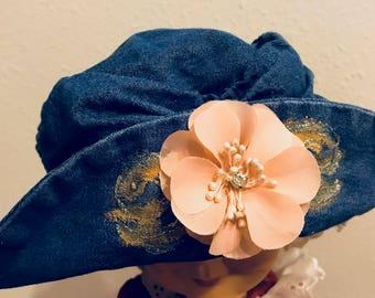 Embellished Floppy Denim Hat