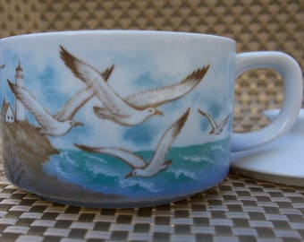 Otagiri Seagulls at the Beach Soup Mug with Lid