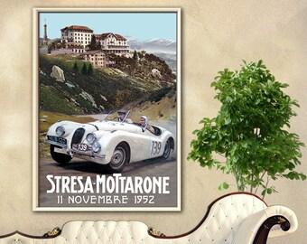 Jaguar Corsa Stresa-Mottarone, vintage racing, car racing, race car, old poster, poster, XK 120