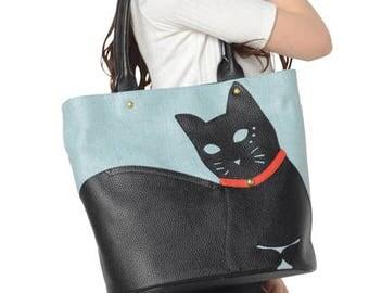 Chigracci/Cat Tote/[Neko Tote]/Kuroneko/original design/sax Blue