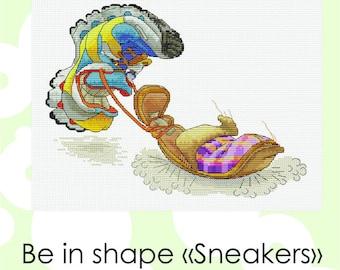 "Cross stitch pattern ""Be in shape «Sneakers» Cross Stitch Instant Download PDF Modern Crossstitch Pattern"