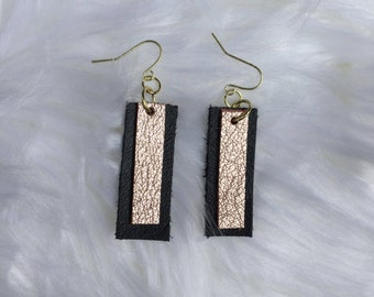 Genuine Black and Gold Leather Earrings with Gold tone Hardware