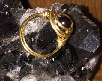 Black Onyx and Brass wire wrapped ring