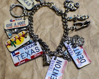 Western Charm Bracelet - Tribute to Texas - Mega Charm - Recycled - Upcycled - Silver-tone Turquoise