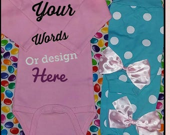 Infant long sleeve onesie, leg warmers