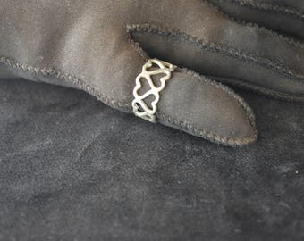 Sterling Silver Hearts Ring- Size 6