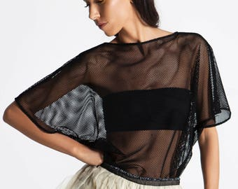 Kimono Sweater with Black net