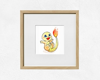 Charmander Art Print - Original Starter Pokemon - Watercolour Painting