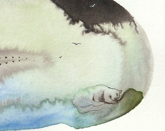 Single feather painting - illustration Watercolour ink small print on paper - Meditation, cat, Moon