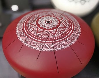Zen Drum, Handpan, steel tongue drum, small Zen drum 8 notes red with white symmetric mandala