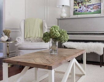 Modern Beachy Coffee Table with White Base