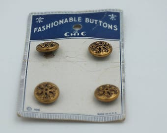 Vintage Metal Pierced Buttons on Card