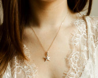 Starfish Necklace- mixed metals, 925 sterling and 14k gold filled necklace