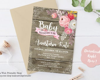 Rustic Floral Baby Shower Invitation, Rustic Baby Shower Invitation, Floral Baby Shower Invitation, Baby Shower Invites, Editable Invitation