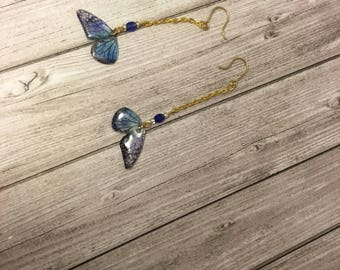 Shiny wings - iridescent blue butterfly earrings collection