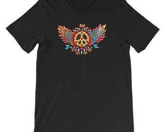 Winged Peace Sign Short-Sleeve Unisex T-Shirt