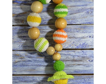 Teething toy, Toy for nurseling, baby teething toy, daisy, juniper toy, wooden toy, chewelry, toy for baby, knitted necklace, nurseling toy