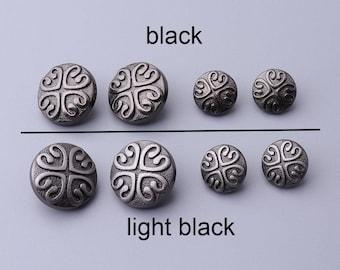 6pcs 2 colors black/light black button 2 sizes 17/12mm  button metal button vintage button round button