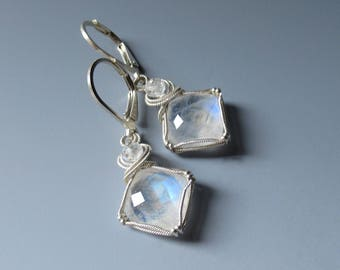 Moonstone Faceted Blue Flash Earrings
